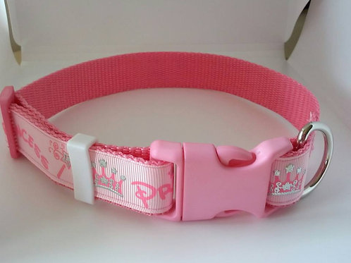 Pink princess patterned adjustable webbing dog collar