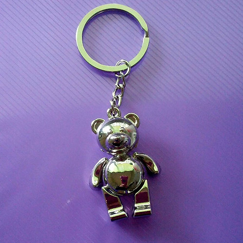 Silver teddy bear keyring with movable arms and legs