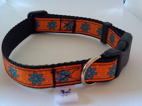 Orange and blue flower adjustable dog collar