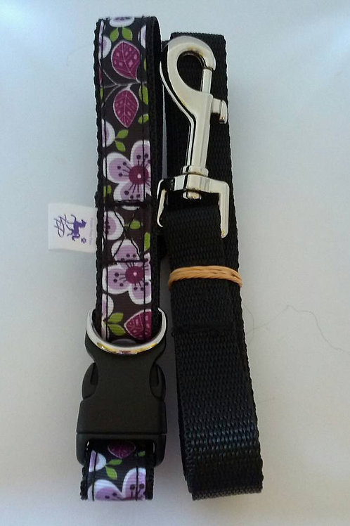 Purple floral dog collar and leash set for small / medium dogs