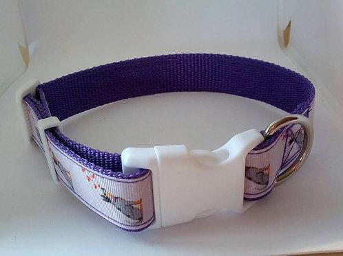 Blue healer print adjustable webbing dog collar
