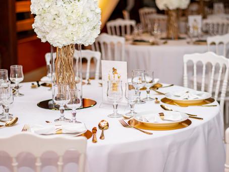 Un mariage en blanc, noir et or