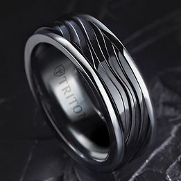 March18 black wave ring with polished ed