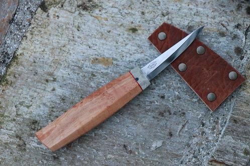 Custom Dogleg Erik Frost 106 Slojd Knife - Stabilized Birdseye Maple