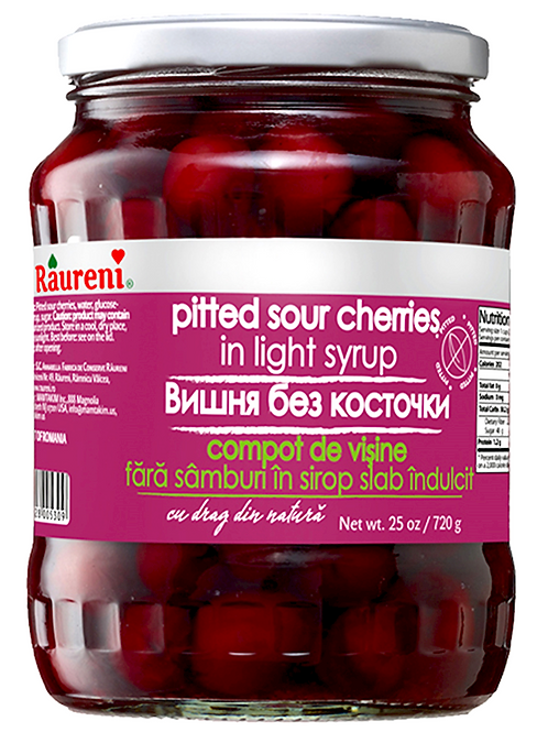 SOUR CHERRY PITTED IN LIGHT SYRUP RAURENI 720G