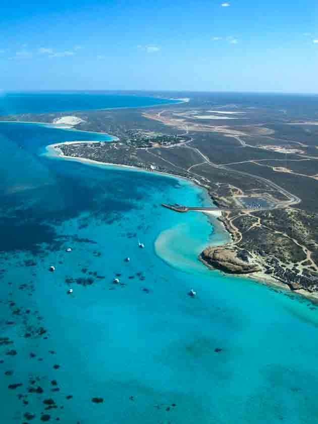 Aerial shot of Coral Bay &Ningaloo