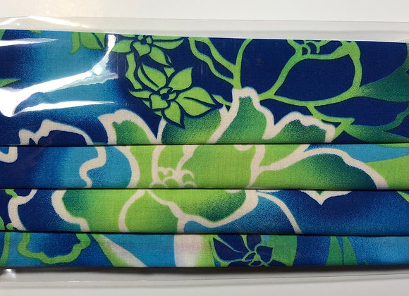 Blue & Green Floral. Adult Size