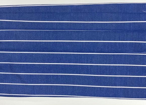 Blue w/ white strips. Adult size