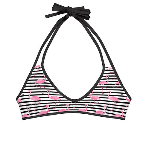 Flamingos Seeing Stripes Flipside Bikini Top