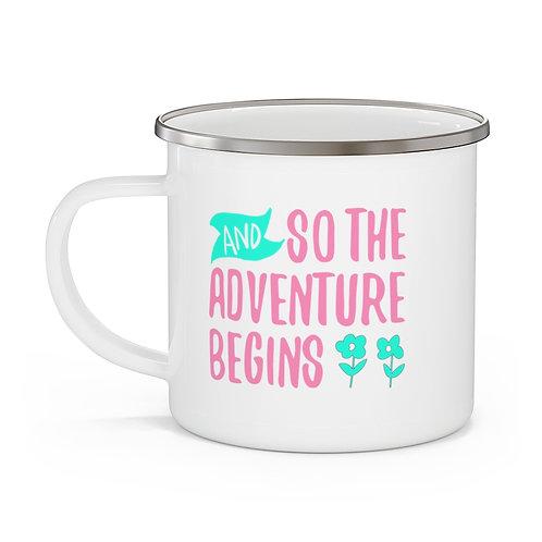 Adventure Begins Enamel Beach Mug
