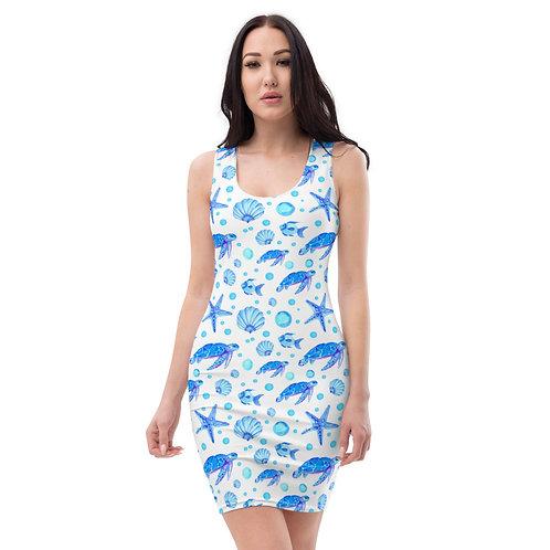 Blue Sea Turtles Calle Mini Dress