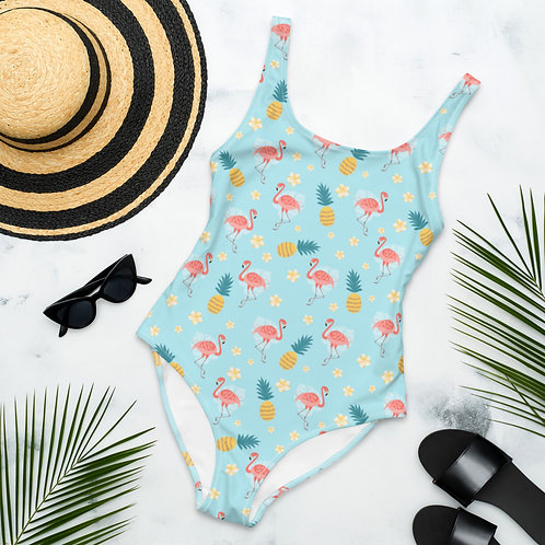 Pinklue Flamingos Playa Perfect One-Piece Swimsuit
