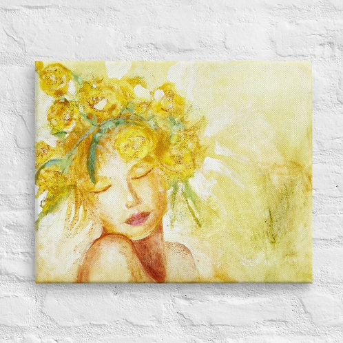 Yellow Lady 1 Reproduction on Canvas