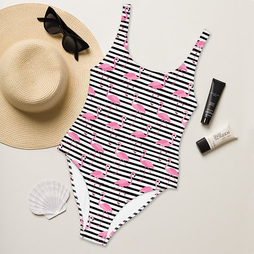 Flamingos Seeing Stripes Playa Perfect One-Piece Swimsuit