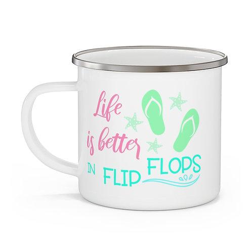 Flip Flop Life Enamel Beach Mug