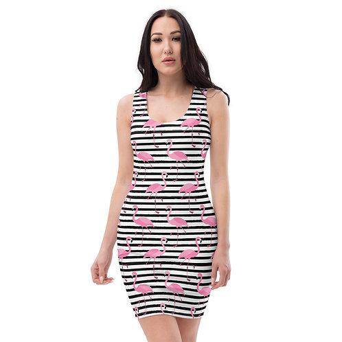Flamingos Seeing Stripes Calle Mini Dress