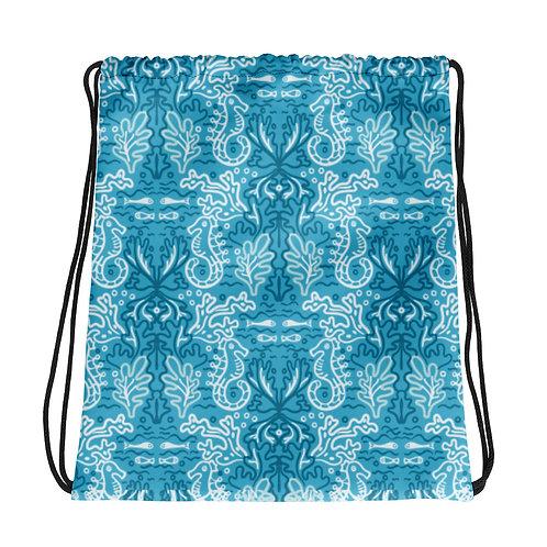 Sea Horses Azul La Ropa Drawstring Bag