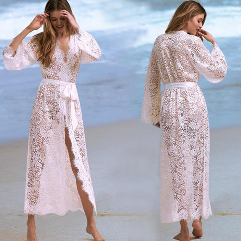 white lace belted kimono looks like a robe