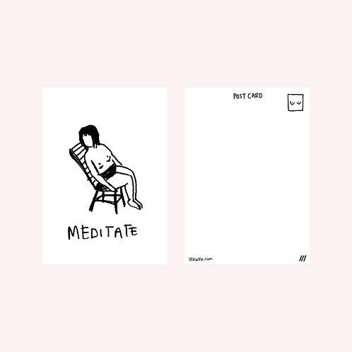 meditate sun chair postcard