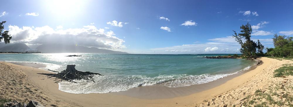 Kanaha Beach Park.  Home of the Kiteboard Surfers.