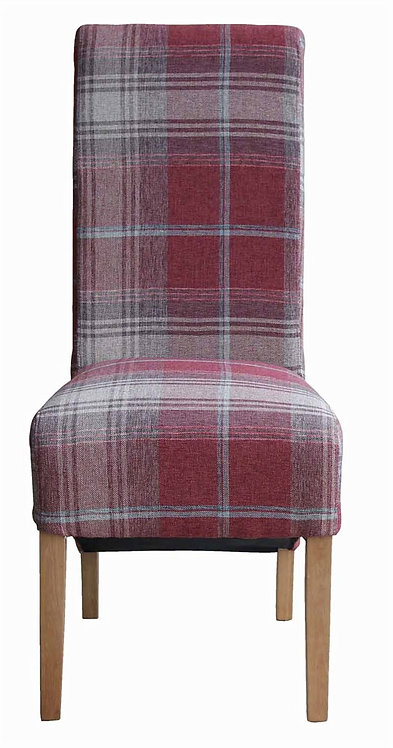 Red Tartan Fabric Dining Chair