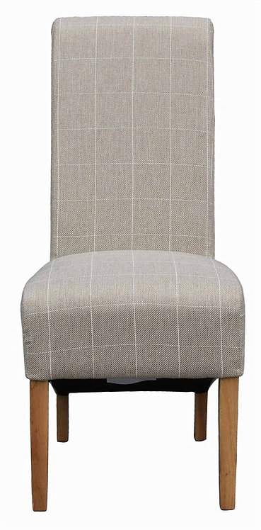 White Stripe Fabric Dining Chair