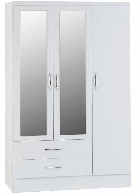 Nevada 3 Door, 2 Drawer Mirrored Wardrobe