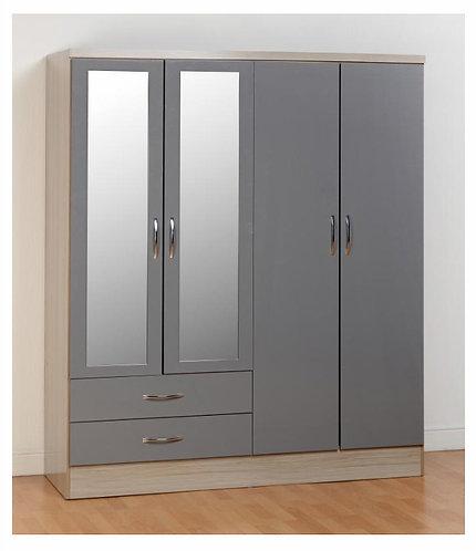 Nevada Grey 4 Door, 2 Drawer Mirrored Wardrobe