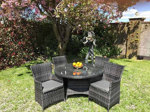 5 Piece Dark Rattan Dining Set