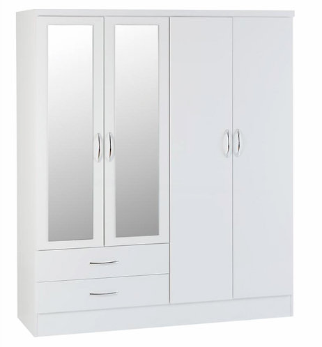 Nevada 4 Door, 2 Drawer Mirrored Wardrobe