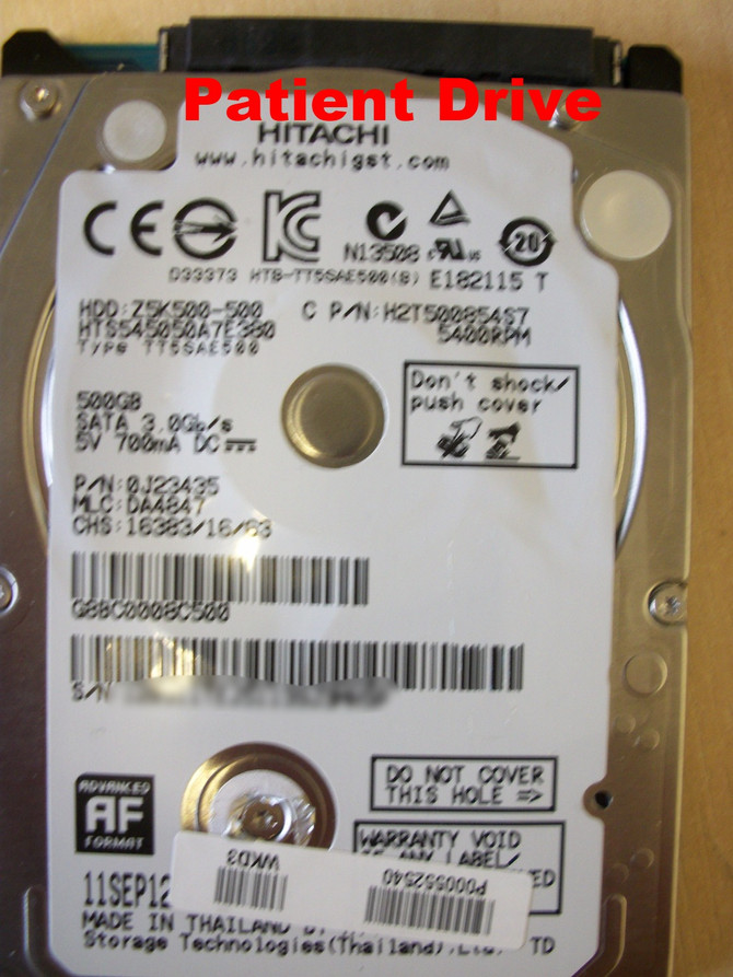 HITACHI HTS545050A7E380 SATA HARD DRIVE DATA RECOVERY