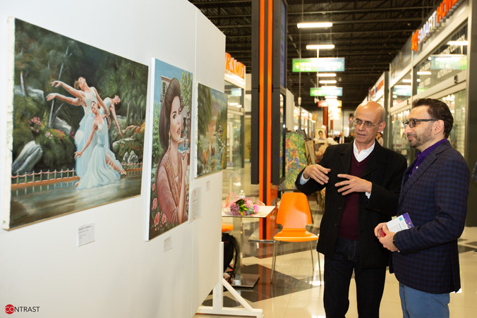 Artist Mouneer Abdoush with MP Omar Alghabra.