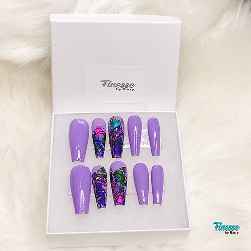 "Purple Finesse ""Press N' Glam"" Full Set Press Ons"