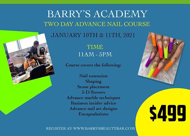 BARRYS ACADEMY 2 day workshop. JAN 10 11