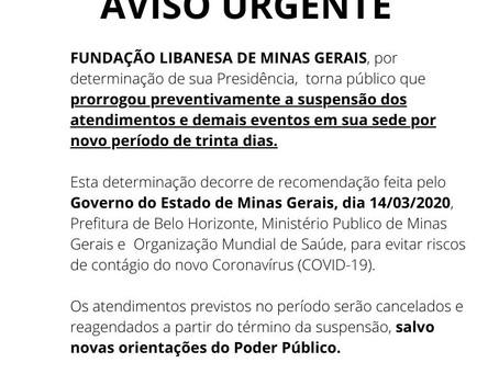 AVISO URGENTE 13/04/2020