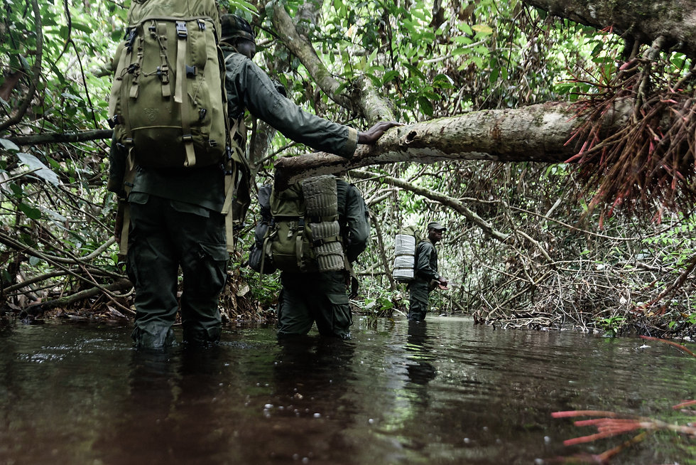 NNNP rangers cross a river during a patr