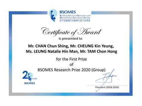 First Prize Award (Group) at the BSOMES Research Prize 2020 Competition