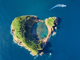 Azores aerial panoramic view. Top view o