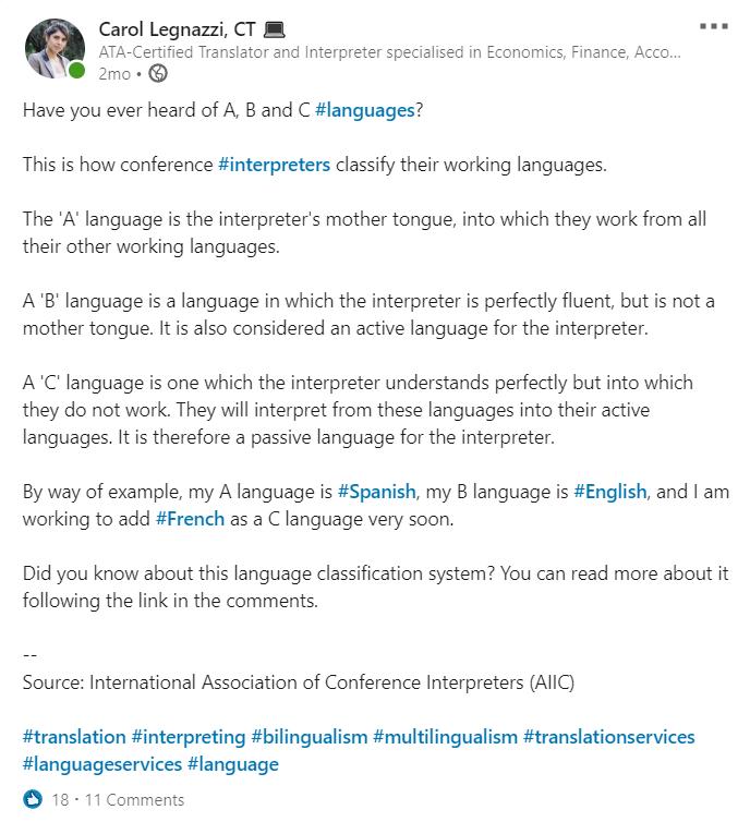 Language Classification for Interpreters