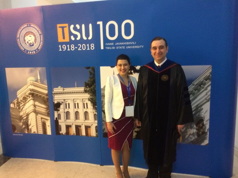 with Mikheil Chkhenkeli, Minister of Education and Science during the celebration of 100th anniversary of Tbilisi State University