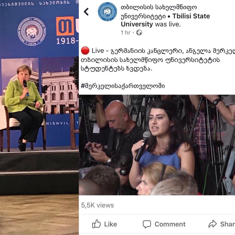 Meeting of Tbilisi State University students with Angela Merkel