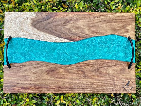 Kiaat Cutting Board (Turqoise)