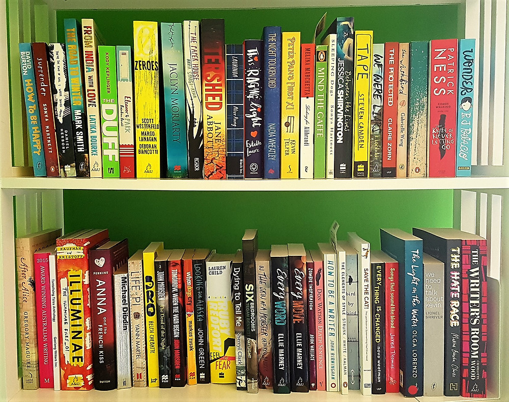 This year's TBR shelves. I have a book addiction problem.