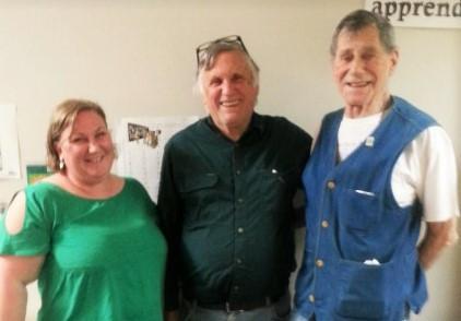 From left: Me, Australian writing legend John Marsden, and CLAN committee member Albert Ullin.