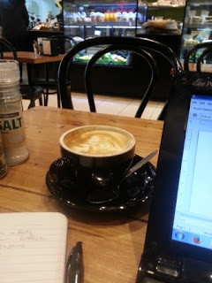 One of the many Melbourne cafes, perfect for an on-the-road office.