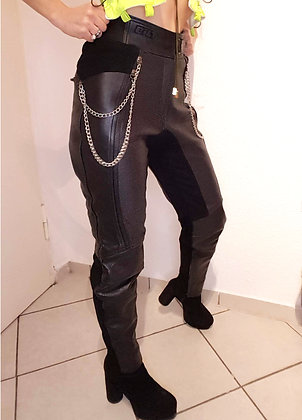 Biker leather pants with chains