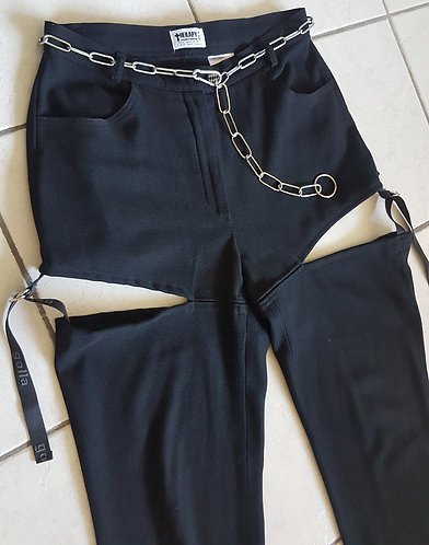 Pants cut off legs with chain