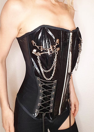 Vinyl corset with chains