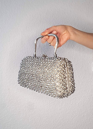 Silver beads and metal mesh purse