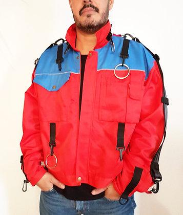 Workwear Jacket Backpack blue-red